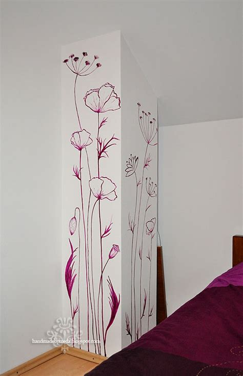 hand painted wall design paint pinterest powder hand painted flowers on walls wall painting pictura pe