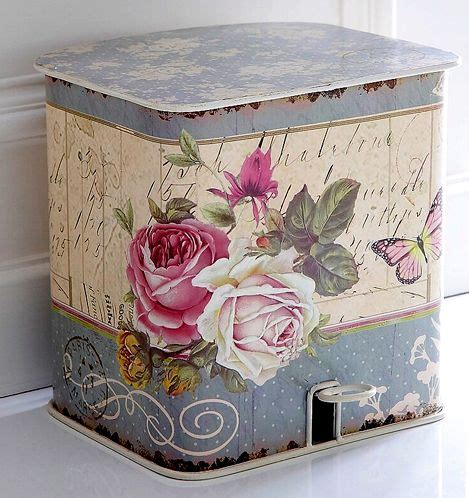 Decoupage Trash Can - tins decoupage and shabby on