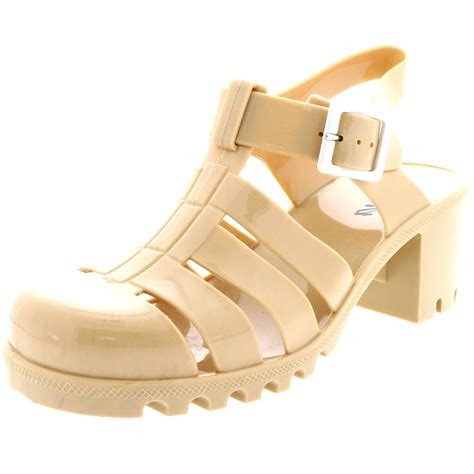 Wedges Jelly Permata Bbl501 2 womens jelly festival mid heel buckle retro gladiator sandals uk 3 9