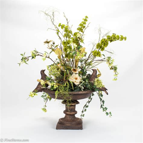 bird bath silk floral arrangement traditional