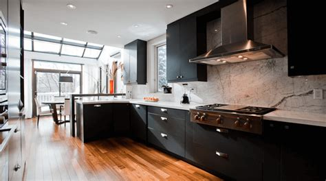 black and wood kitchen cabinets black and white kitchens and their elements