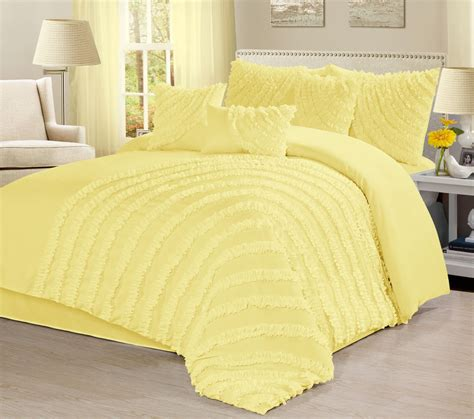 yellow bed in a bag homechoice 7 piece hillary bed in a bag ruffled pleated