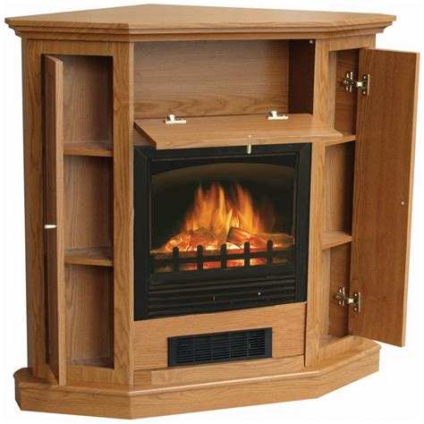 stonegate 174 electric fireplace with side storage oak