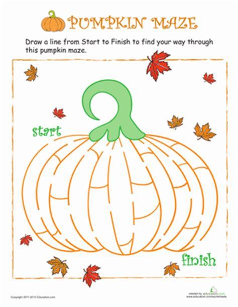 pumpkin maze worksheet education com