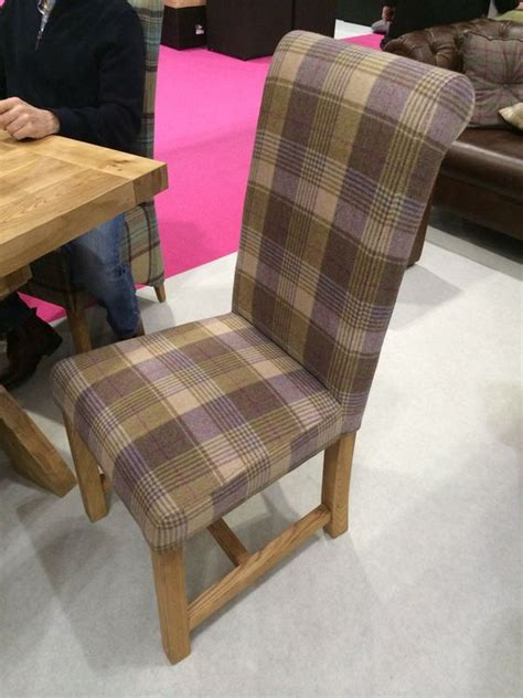 exciting affordable dining room sets brown plaid rug white heather coloured tartan upholstered dining chair chairs