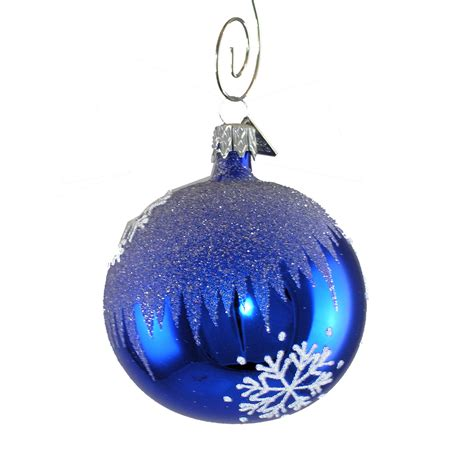 Handcrafted Glass Ornaments - blue snowflake blown glass ornament garden artisans