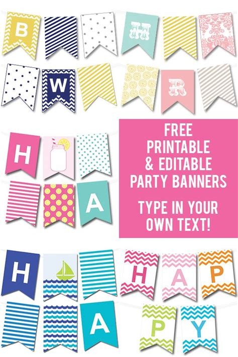 printable birthday banner lots of free printable party banners from chicfetti you