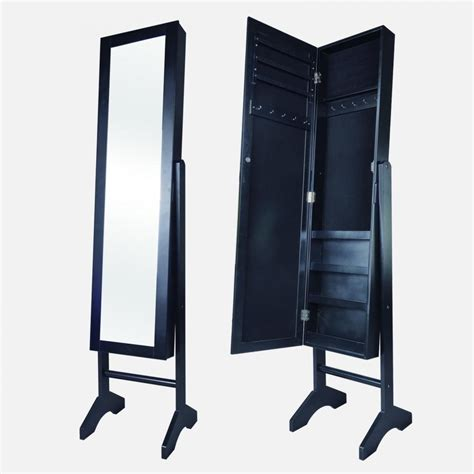 Black Jewelry Armoire Mirror by New Black Mirrored Jewelry Cabinet Armoire Stand Mirror Rings Necklaces