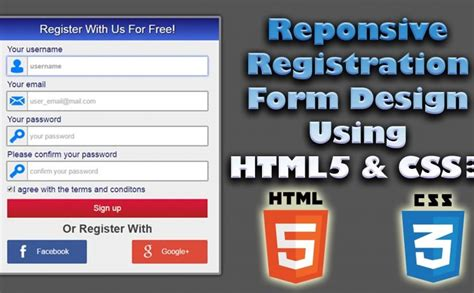 design form using html5 responsive registration form design using html5 css3