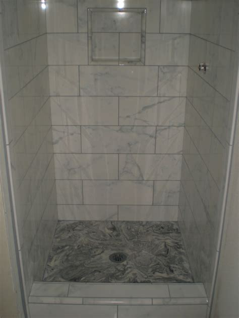 White Tiled Bathroom Ideas by Faux Marble Custom Tile Bathroom Floor And Shower