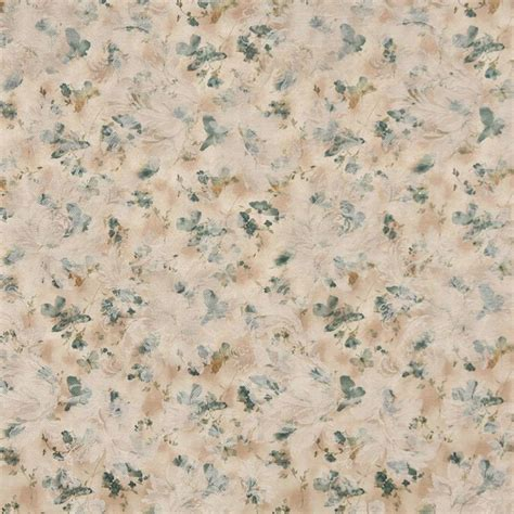 Traditional Upholstery Fabric Green Gold White Pastel Butterflies And Flowers Upholstery