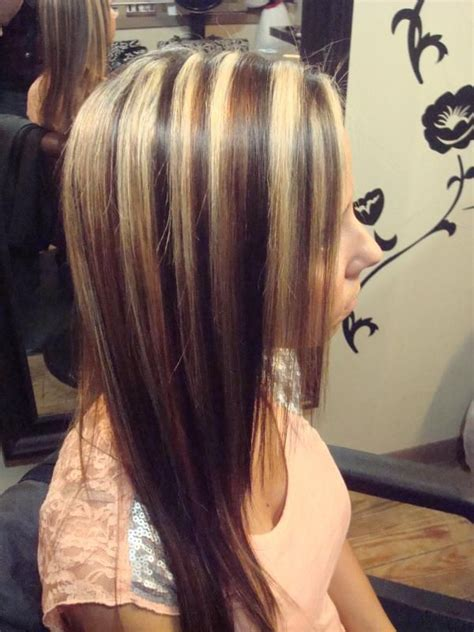highlights with lowlights underneath brown hair with red lowlights and blonde highlights