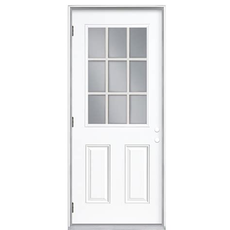 Shop Reliabilt 9 Lite Prehung Outswing Steel Entry Door Lowes Prehung Exterior Doors