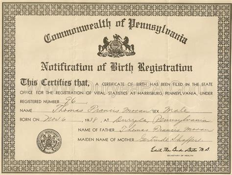 Pennsylvania Birth Records 7 Best Images Of Pennsylvania Birth Certificate Template Certificate Form