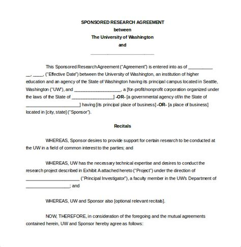research agreement template 26 agreement templates free sle exle