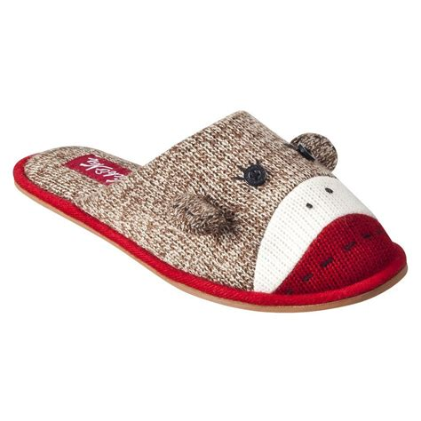 sock house shoes sock monkey women house shoe slippers nick nora size