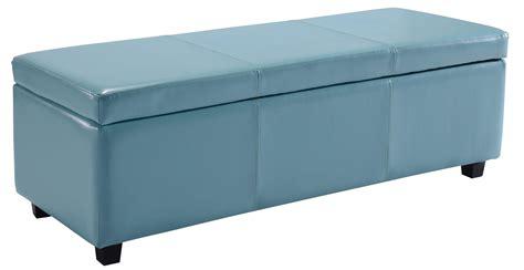 Big Ottoman With Storage Simpli Home Avalon Rectangular Faux Leather Storage Ottoman Bench Large Blue