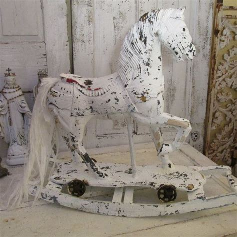 shabby chic antique wooden rocking painted white distressed shabby