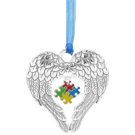 wings of an angel puzzle piece ornament the autism site