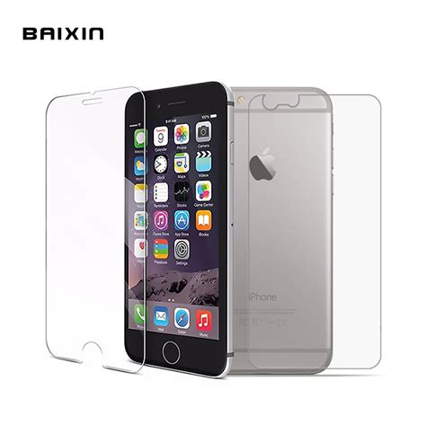 baixin 2pcs front back tempered glass for iphone 4 4s 5 5s 5c 6 6s 6plus 6splus rear screen