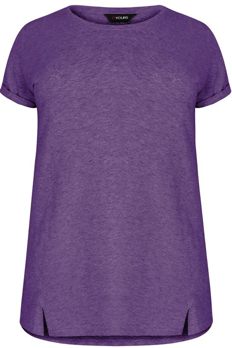Boyfriend Purple purple boyfriend t shirt with front split detail plus size 16 to 32
