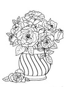 coloring pages of flowers in vases images