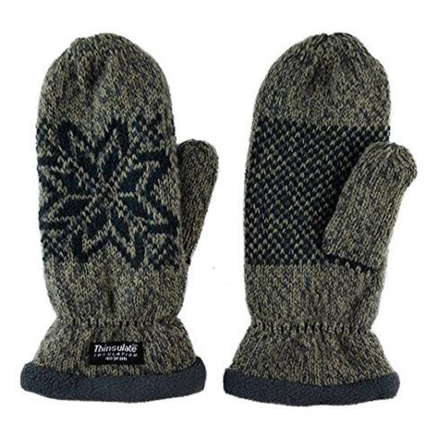 knit mittens with fleece lining bruceriver snowflake knit mittens with warm
