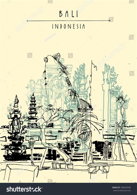 grand design hindu indonesia vector illustration hindu temple ubud bali stock vector