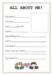 about me profile template teaching worksheets all about me