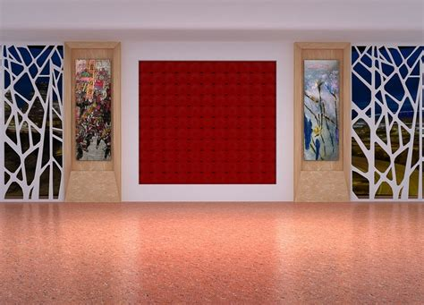 yellow background wall rendering for painting exhibition hall pillars and background wall design download 3d house