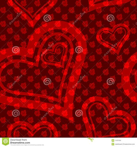 seamless pattern heart red seamless rose and heart pattern stock images image