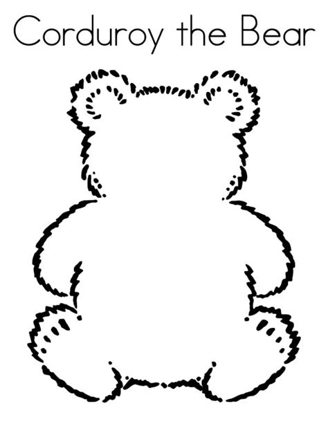 free coloring pages of corduroy the bear