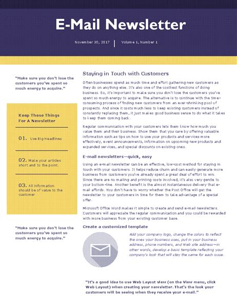 E Mail Newsletter How To Write A Newsletter Template
