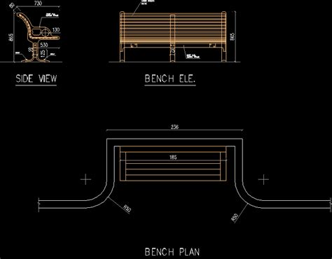 2d bench bench in autocad drawing kamocad