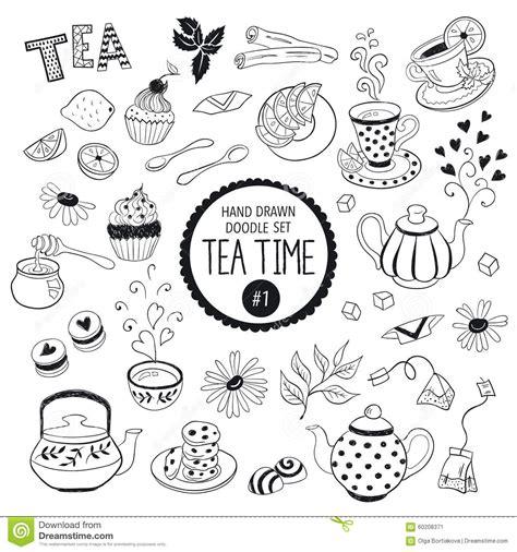 doodle time tea time doodle elements set stock vector image 60208371