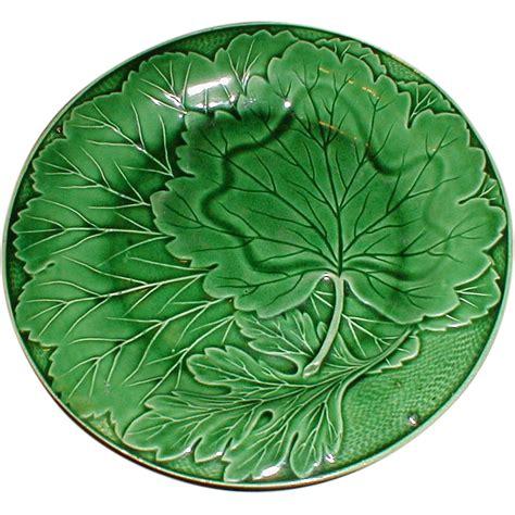 Leaf Plates 1 lovely vintage green majolica plate leaf design from tomjudy on ruby