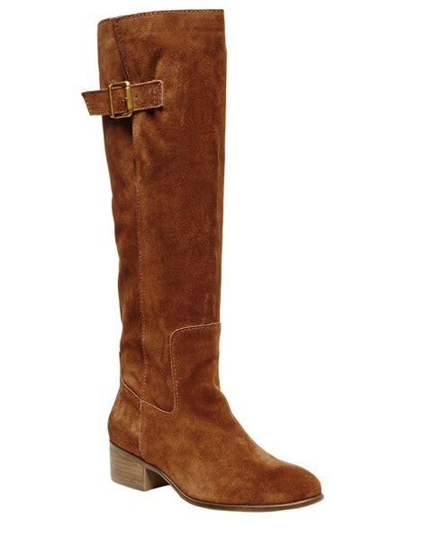 steve madden loren suede boots in brown lyst