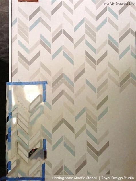 herringbone pattern wall stencils diy wall stencil makeover with allover herringbone pattern