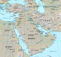 middle east map with rivers the middle east