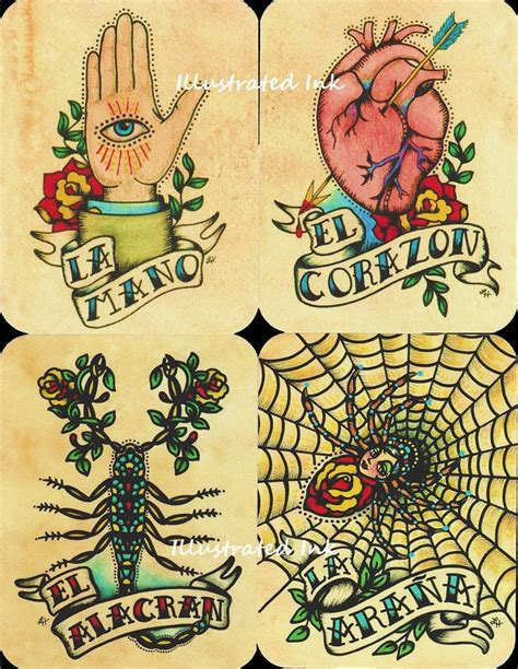 folk art tattoo folk postcards mexican loteria set of 8