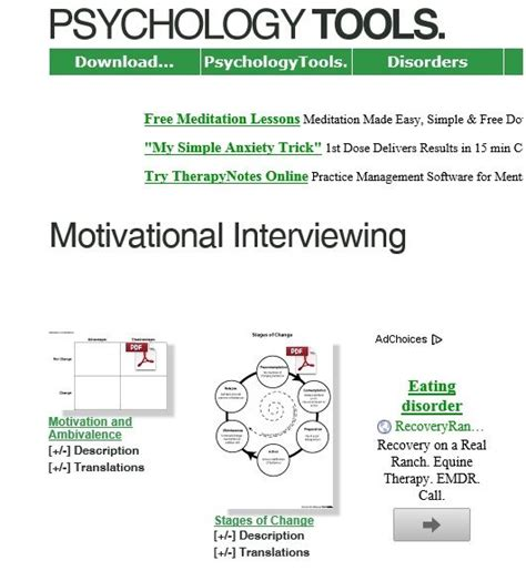 Motivational Interviewing Worksheets by Http Www Psychologytools Org Motivational Interviewing