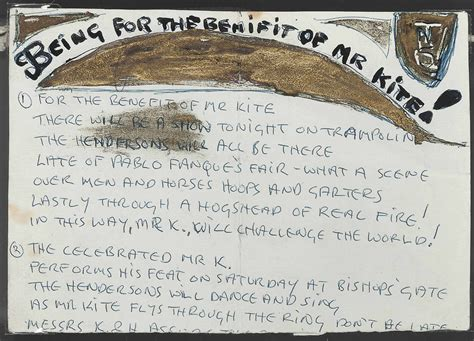 being for the benefit of mr kite lennon s lyrics for being for the benefit of mr