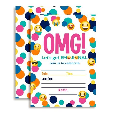 printable emoji birthday invitations amazon com emoji birthday party fill in invitations toys