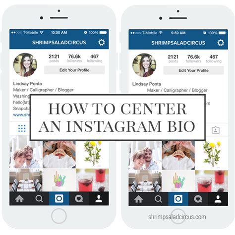 how to center your instagram bio shrimp salad circus
