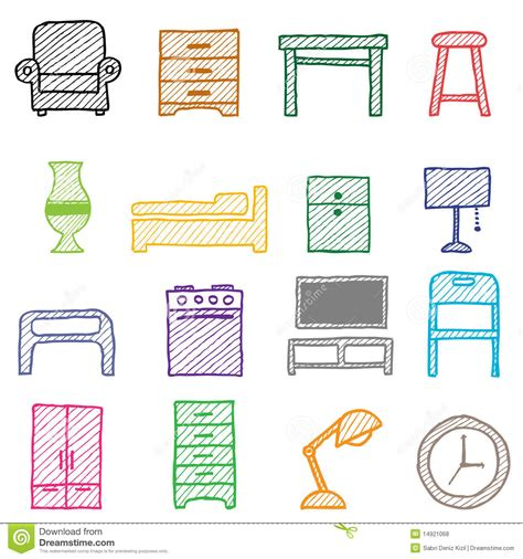 Home Plan Design 3d by Hand Drawing Furniture Icons Royalty Free Stock Photos