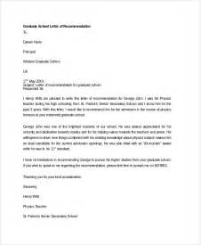 Reference Letter For Graduate School Sle Letter Of Recommendation 20 Free Documents
