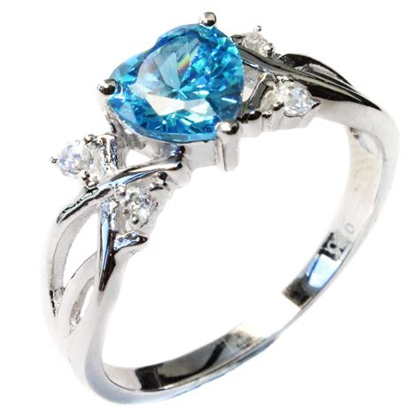 aquamarine shaped ring aqua cubic zirconia