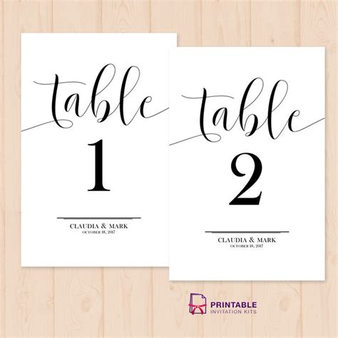 wedding table card template free table numbers free printable pdf template easy to edit