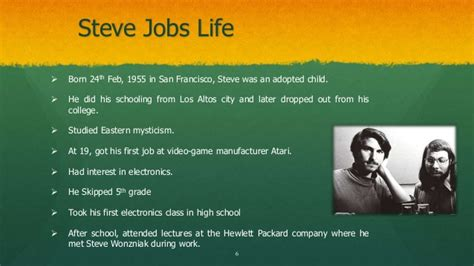 history of steve jobs life the life of steve jobs power point presentation