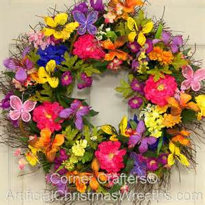 Spring Wreath spring butterfly wreath artificialchristmaswreaths com floral